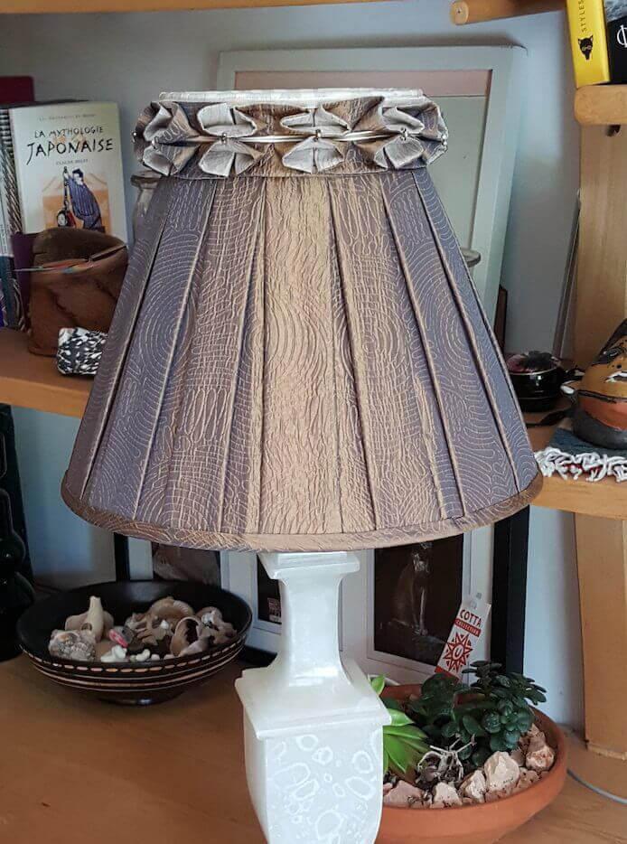 Jour Tissu Drapé plissé juponné tissu  ondulé Vintage  LAMPE Abat
