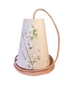 Suspension baladeuse rose tissu fleurs d'amandier avec cordon textile