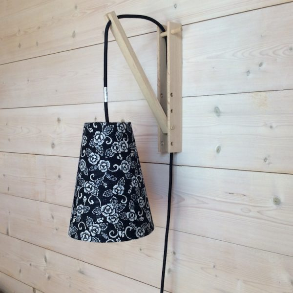 Suspension baladeuse fleurs indigo/cordon textile marine off