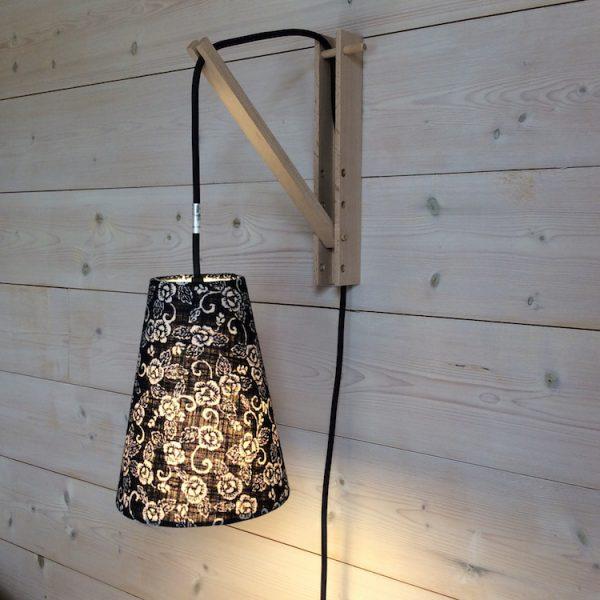 Suspension baladeuse fleurs indigo/cordon textile marine on