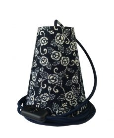Suspension baladeuse fleurs indigo/cordon textile marine