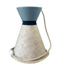 Suspension diabolo en lin écru et top uni bleu avec cordon textile