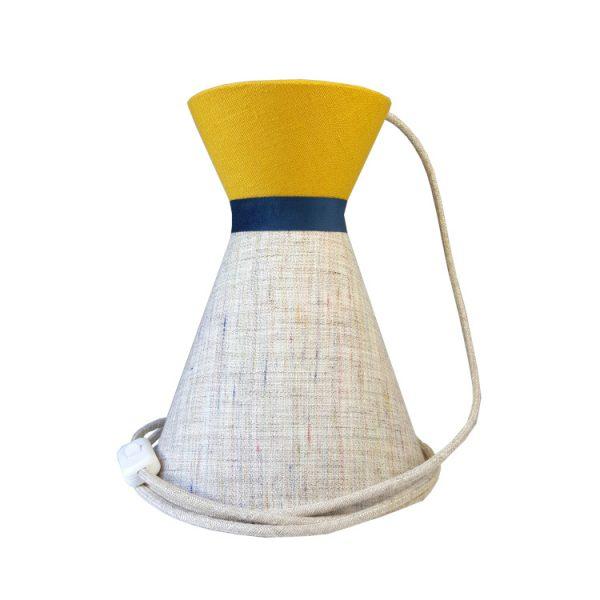 Suspension diabolo en lin écru et top uni jaune avec cordon textile