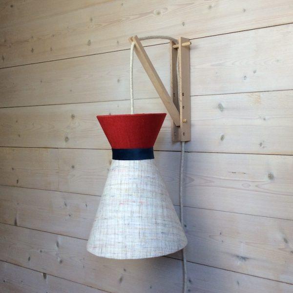 Suspension diabolo en lin écru et top uni rouge avec cordon textile off