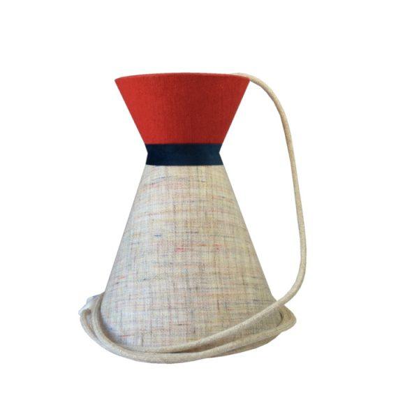 Suspension diabolo en lin écru et top uni rouge avec cordon textile