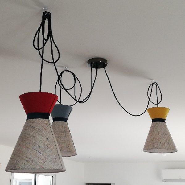 Plafonnier de suspensions diabolo et cordons électriques textiles