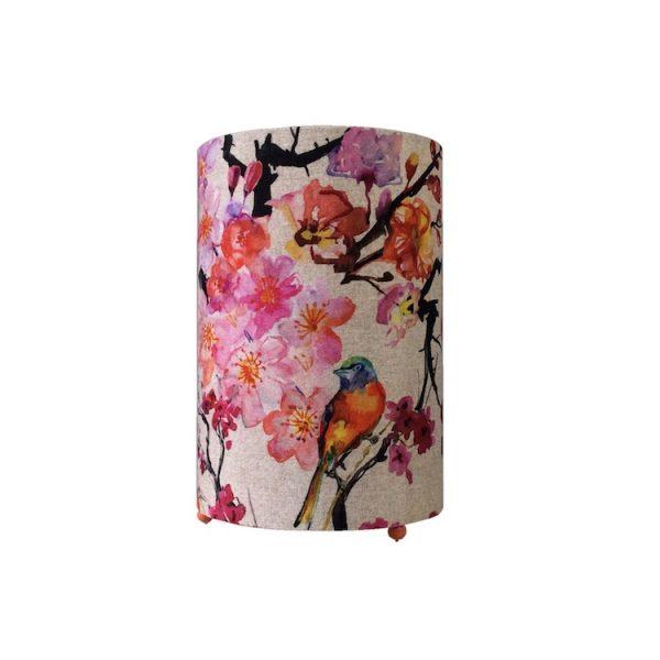 Lampe à poser cylindrique tissu en lin motif japonais fleurs de prunier