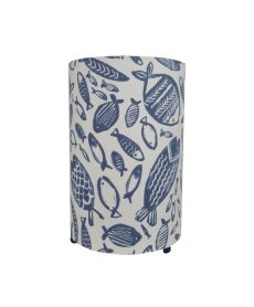 Lampe à poser cylindrique motif poissons La Rochelle