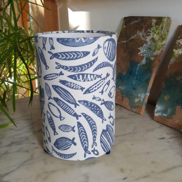 Lampe à poser cylindrique motif poissons off