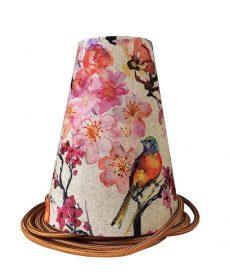 suspension lin fleurs cerisier oiseaux